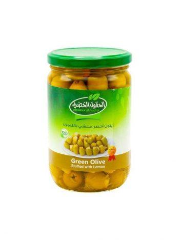 Groene Olijven AL HOKOOL AL KHADRAA met citroen gevuld 600gr x 12st