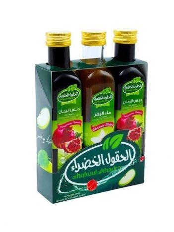 Special *Offer* AL HOKOOL AL KHADRAA (2x Granaatappelsaus+ 1 rooswater (zahr) ) x 8st