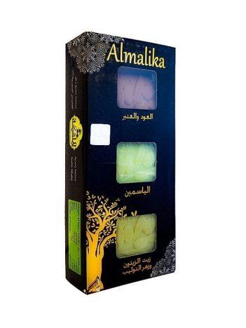Zeep ALMALIKA oud anbar,jasmijn,olijfolie en tulpenbloesem(Pakket 3st) x12st