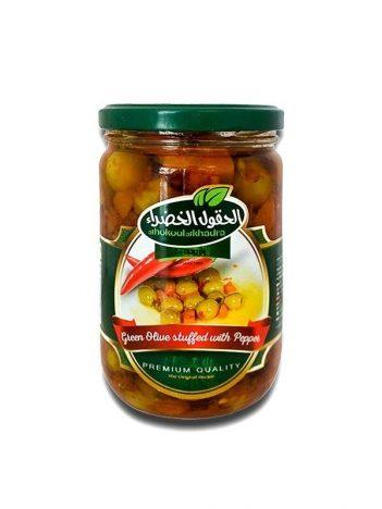 Groene olijven AL HOKOOL AL KHADRAA met paprika/wortel/peterselie 600gr x 12st