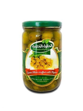 Groene olijven AL HOKOOL AL KHADRAA met tijm gevuld 600gr x 12st