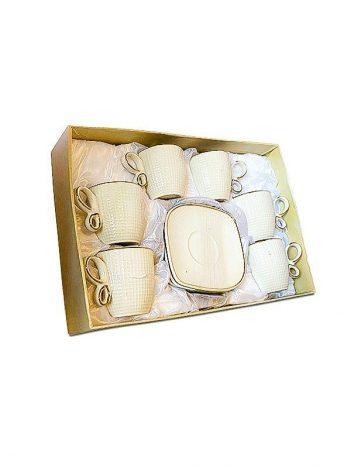 HD-39 Koffiekoppen set 6st wit goud streepje