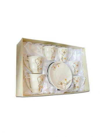 HD-44 Koffiekoppen set 6st wit/goud bloem