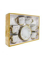 H1-13 koffie kopjes met schotel set van 6