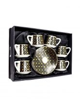 H1-42 coffee cups with dish set of 6